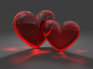 Two glass red heart with caustic effect