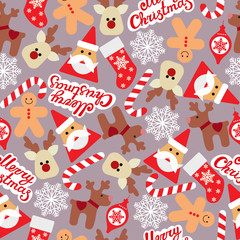Vector seamless flat pattern with icons of Happy New Year and Christmas Day