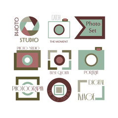 Vector collection of photography logo templates. Photocam logotypes. Photography vintage badges and icons.
