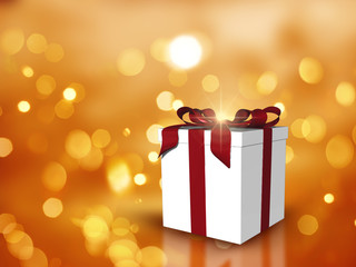 Christmas gift background with bokeh lights