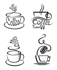 collection of coffee cup with steam