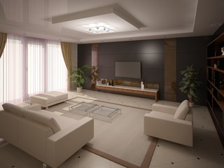 Modern and comfortable living room.