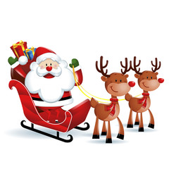 Santa Claus riding a sleigh with Reindeers in white background