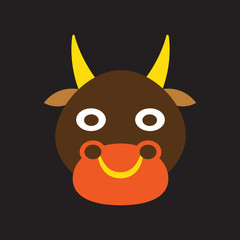 Modern flat icon with Black background Indian cow