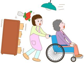 地震で避難する老人