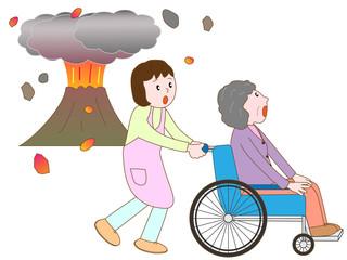 噴火で避難する老人