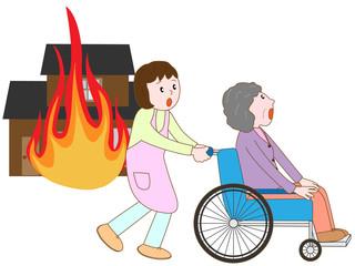 火事で避難する老人