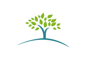 Tree with green leaves Logo