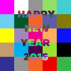 Happy New Year 2016 lettering Greeting Card. Block colorful background.