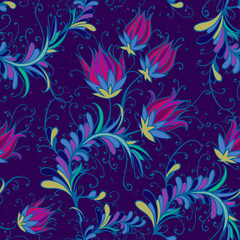 Seamless pattern with hand drawn flowers and floral elements.