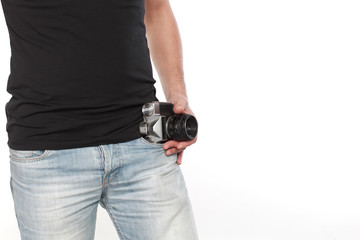 Old photography machine in man's pocket