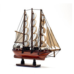 Model of the wooden antique schooner