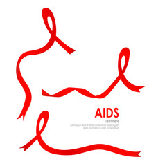 Aids Awareness Red heart Ribbon on white background. Vector illu