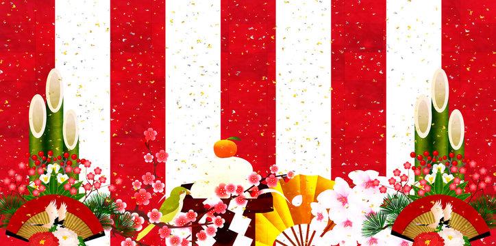 正月 紅白 新年 背景