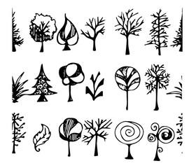 Set of tree doodles