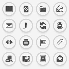 Email black icons on stickers. Flat design.