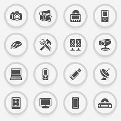 Electronics black icons on stickers. Flat design.