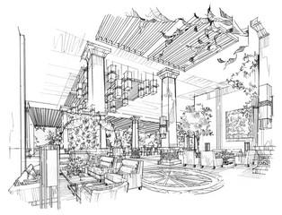 lobby design of sketch design- Stock Image