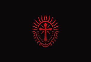 Cross Christian logo emblem vector