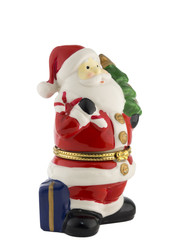 small chrismas tree with shinny colored ornaments, isolated on w