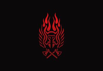 horn fire emblem design vector