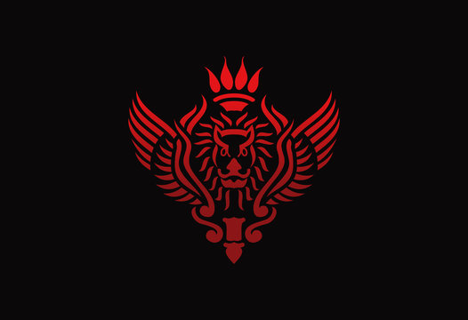 lion emblem design vector