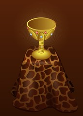 Gold Cup on the leopard fur