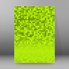Green pixel background brochure cover page layout
