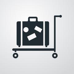 Icono plano carro maletas sobre fondo degradado