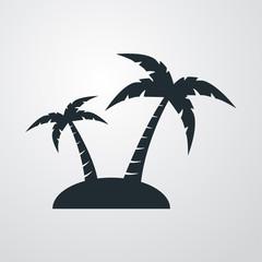 Icono plano isla con palmeras sobre fondo degradado