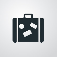 Icono plano maleta sobre fondo degradado