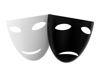 Black and white theatre masks