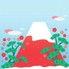 富士山、富士、山、赤、赤富士、イラスト、明るい、可愛い、FUJI、FUJIYAMA