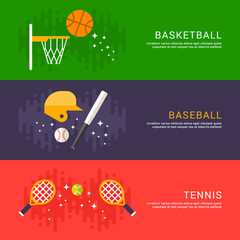 Set of Concept Flat Style Vector Indoor and Outdoor Sport Illustrations. Basketball, Baseball, Tennis