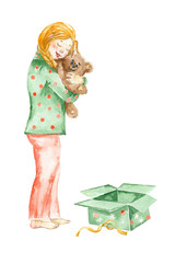 Watercolor painting. Girl with Christmas gift