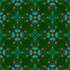 Background, seamless green pattern with red and blue flowers.