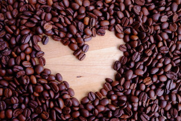 coffee bean with beautiful heart