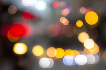 defocused light city street in evening