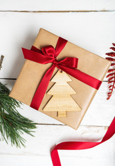 Christmas gifts box presents on wood background