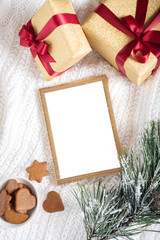 christmas theme. gold frame with christmas details
