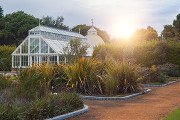 green house in autumn Irish garden