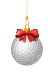 Golf ball with red bow