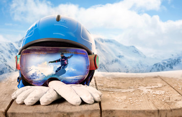 Colorful ski glasses and winter gloves,winter sport concept