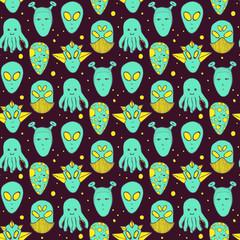Sketch aliens faces pattern