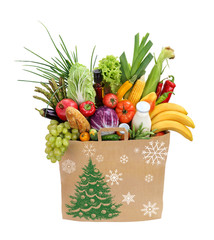Christmas Holiday shopping bag / studio photography of brown grocery bag with fruits, vegetables, bread, bottled beverages - isolated over white background. High resolution product