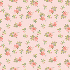 Delicate light pink seamless backdrop with small roses