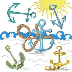 Hand drawn anchors