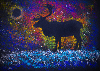 Reindeer and Northern Lights