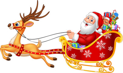 Cartoon funny Santa in his Christmas sled being pulled by reindeer
