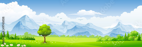 Wall mural Summer landscape with meadows and mountains